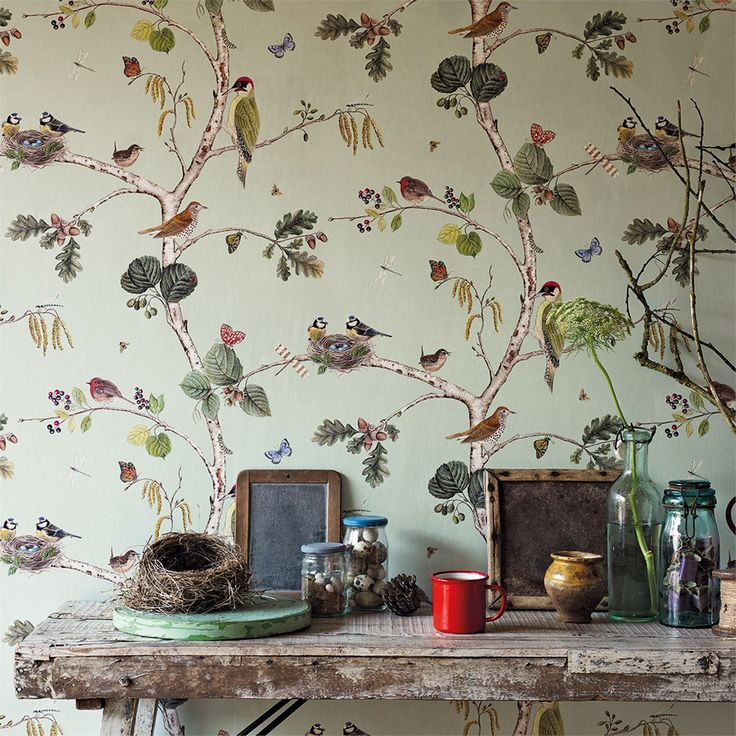 """Sanderson """"Woodland Walk"""" collection. Love this wallpaper. So. Much. Maybe for my sewing room..."""