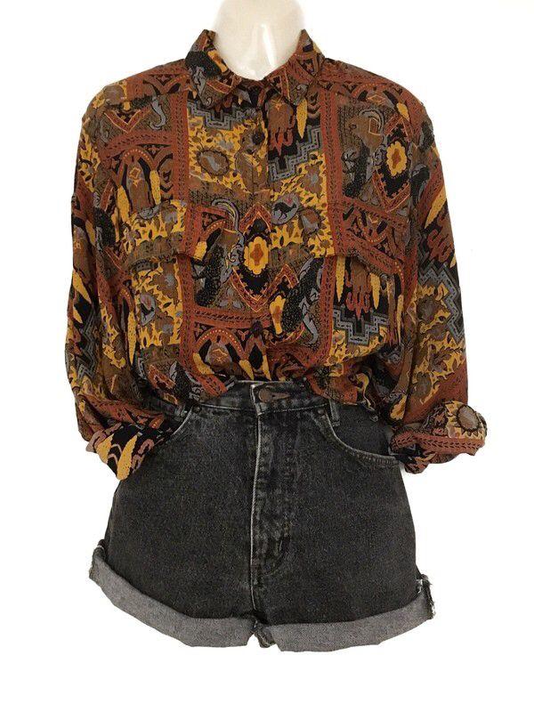 Mein Traumhafte Vintage Hippie Boho Style Bluse Hemd Ethno