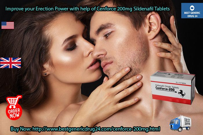 #Cenforce200mg #Sildenafil_Tablets is significantly helpful in getting an #erection for the satisfactory duration while making love. Men can #buy_Cenforce200mg Sildenafil Tablets Online in #USA #UK at #BestGenericDrug24 website in #Canada #Australia #London #Ireland #Sydney #Spain #Europe #Brazil #Italy #France #Germany #Philippines #Mexico #Austria #Netherlands, only at $0.70 Prices without prescriptions. Visit at: http://www.bestgenericdrug24.com/cenforce-200mg.html