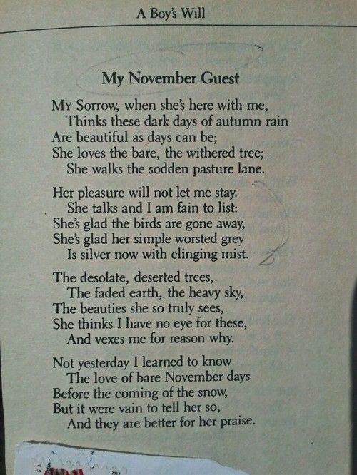 """ROBERT FROST ----------------------- """"My November Guest"""""""