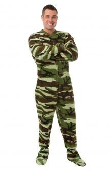 Camouflage Micro-Polar Fleece Adult Footed Pajamas in Green and Brown (208)