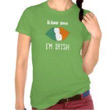 Kiss Me I'm Irish Lips with Irish Flag Girly Shirt
