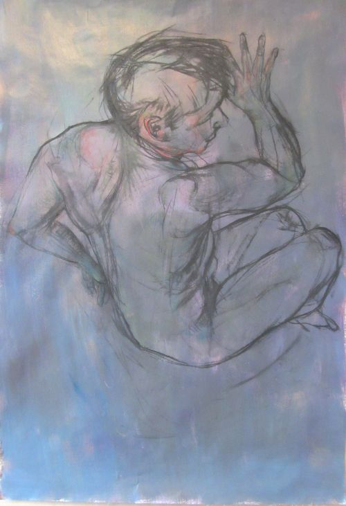 'Cling', charcoal and pastel figure drawing