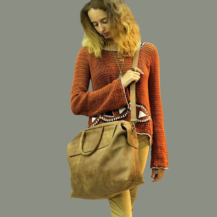 XLarge brown leather woman duffel bag with crossbody strap handmade everyday briefcase for laptop