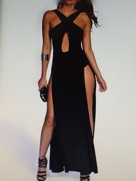 Unique Prom Dress,Split Prom Dress,Black Prom Dress,Fashion Prom