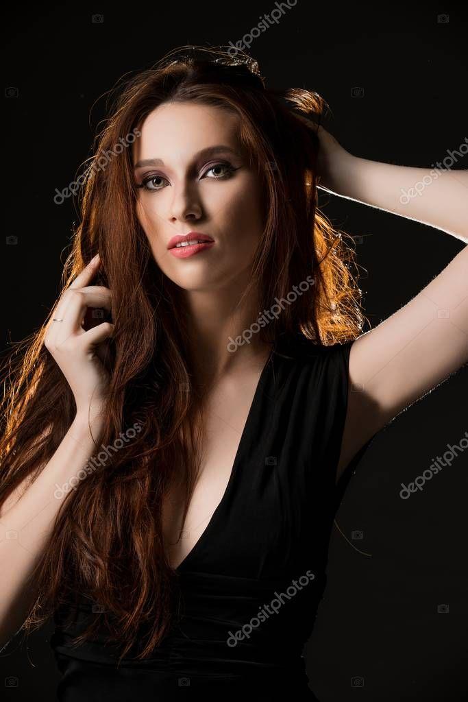 Gorgeous Brunette In Black Dress Stock Photo Aff Black