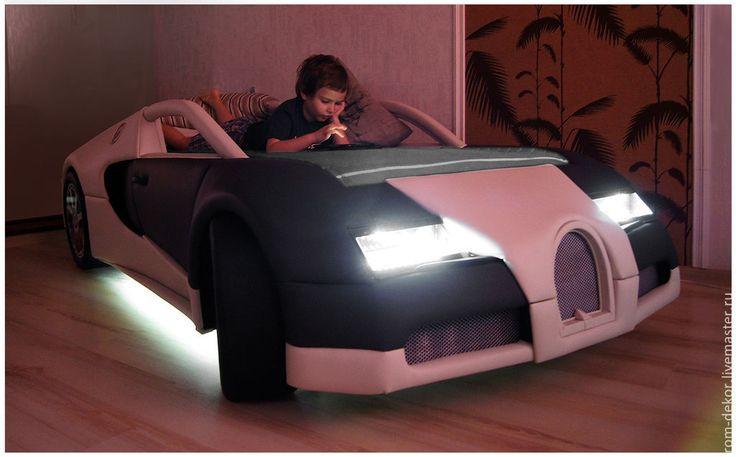 Купить Детская кровать-автомобиль BugaTTi Veyron. Кожа. - детская кровать, кровать для мальчика