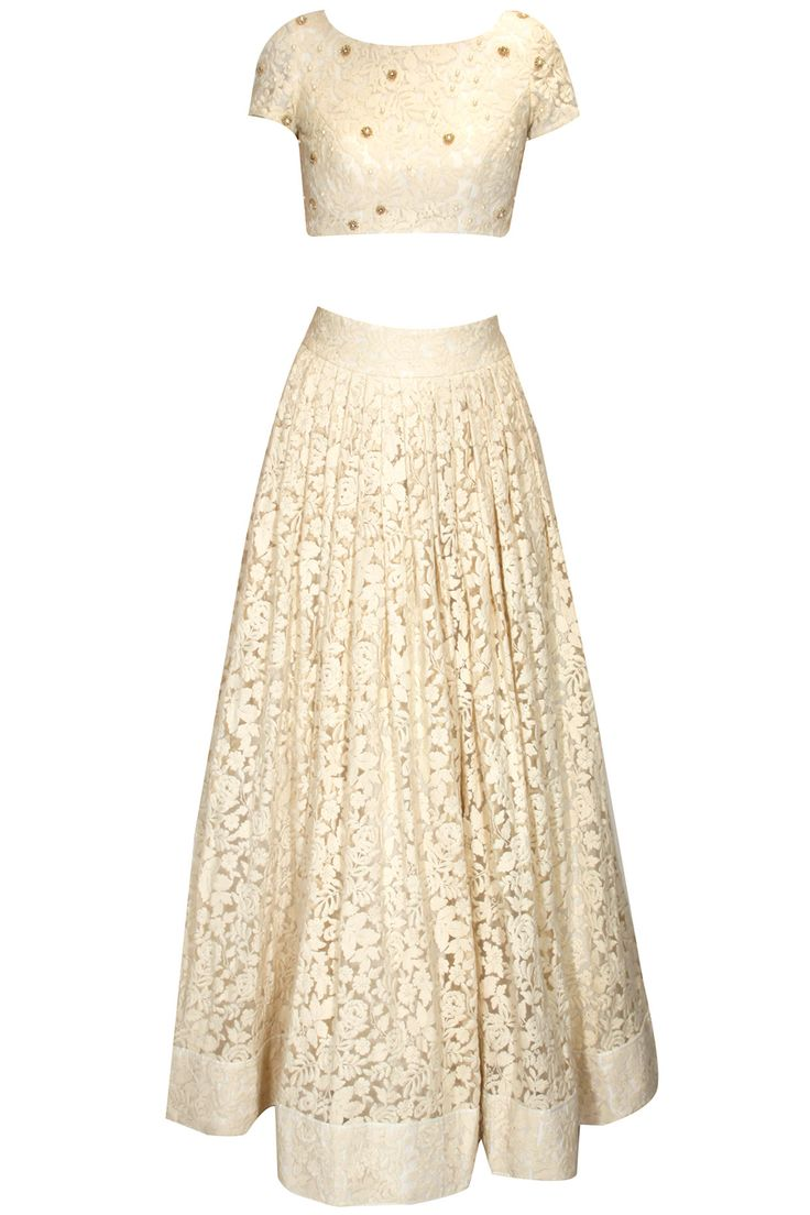 Ivory floral thread embroidered crop top and skirt set available only at Pernia's Pop Up Shop.
