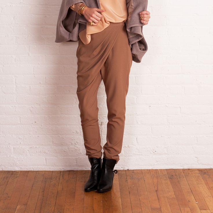 Drape Front Trouser- Camel on TROVEA.COM