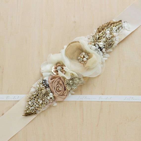 Bridal belt bridal sash Gold wedding dress belt by LeFlowers