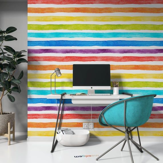 Watercolor Multicolor Bright Rainbow Colors Horizontal Stripes Etsy Stripe Wallpaper Bedroom Striped Wallpaper Textured Wall