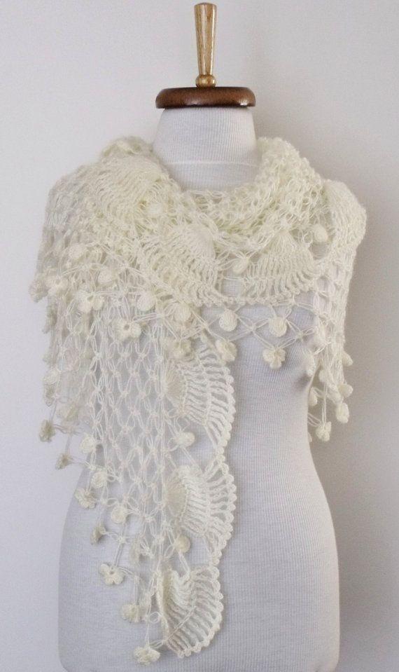 Jasmine Ivory Bridal Shawl Wrap  wiht flower by knittingshop