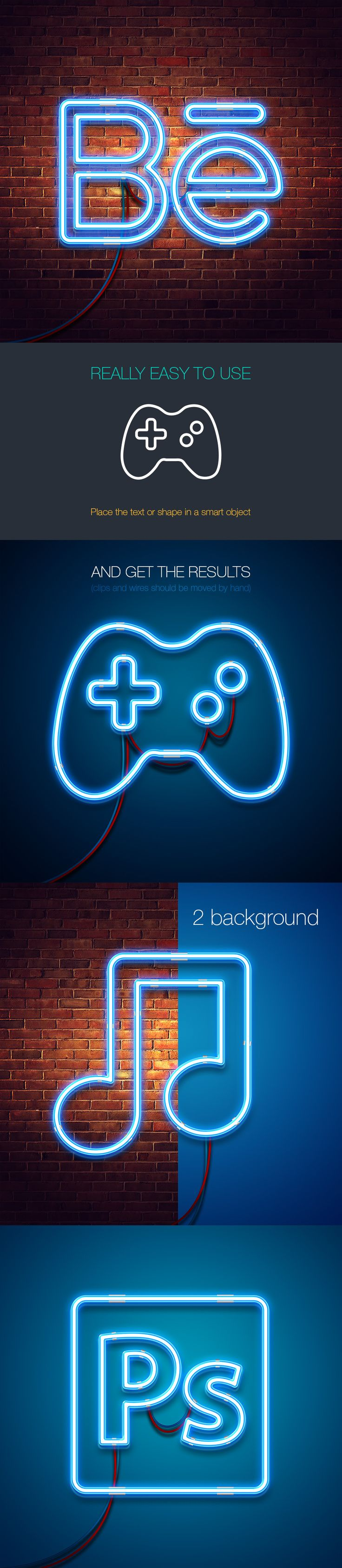 Free neon mock-up (33.7 MB) By Lil Bro on Behance | #free #photoshop #mockup #psd #neon