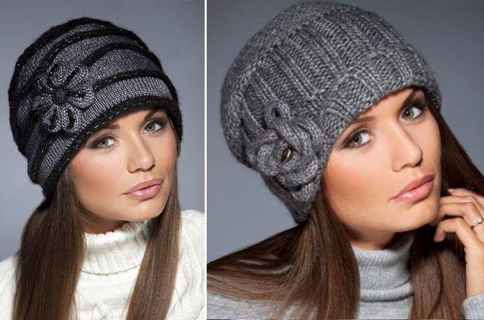 Вязаные шапки для женщин 50 лет  фото шикарных зимних моделей ... 40e8efa16726a