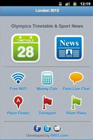 Application for fans of national teams.<br/>London 2012 and London olympiad mobile Guide. <br/>Summer Olympiad Schedule - Olympiad Results - All Events London 2012 <br/><br/>Complete information on: <br/>- Timetable / Schedule <br/>- Sports news <br/>- Free wifi zones <br/>- London underground (Tube) and other transport <br/>- Place finder <br/>- Money calc (US Dollar, Euro, Pound ) <br/>- Fans Live Chat<br/><br/><br/>Base keywords:<br/><br/>olympics 2012 olympics 2012<br/>2012 olympics 2012…