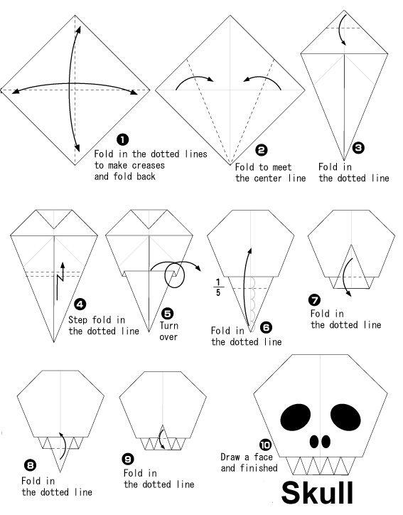 Origami tête de mort pour #halloween
