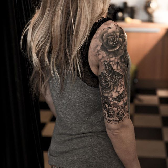 half sleeve done family theme becccy333 tattoo tatuering butterfly rose stamps portrait. Black Bedroom Furniture Sets. Home Design Ideas
