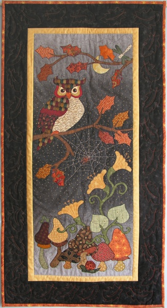 "Autumn Owl - wow. This is one gorgeous quilt this reminds me of the library our classrooms in our elementary school with the rug and the owl saying ""read"" as a quilt hanging."