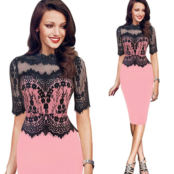 2016 Spring Women Vintage Dress Sexy Fashion Sleeve Vestido Lace Patchwork Top Clothing Tunic Dress Maxi Size XL XXL Dress Woman pink