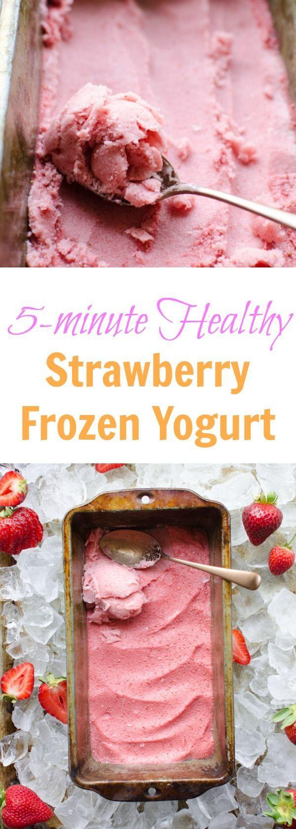 4 Ingredient Healthy Strawberry Frozen Yogurt recipe (made in 5 minutes!)
