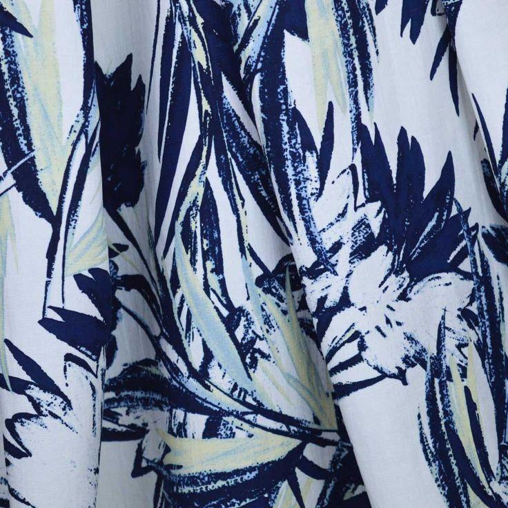 Tropicana Palms Linen Viscose Mix Dressmaking Fabric.
