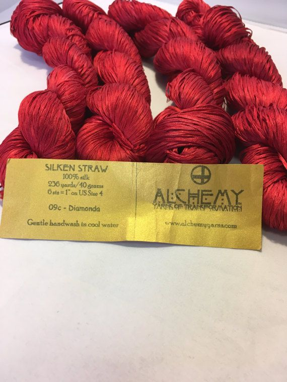 Beautiful Yarn, 100% Silk, Hand Paint, Red color,  One piece 40gr, 236 yard Only dry clean