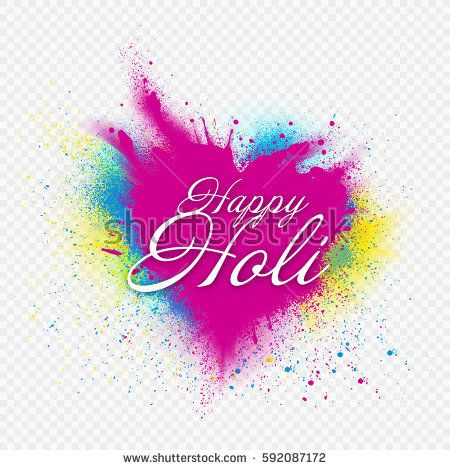 Template design for Holi festival event.  Background heart of colors. Colored powder vector. Transparent background ideal for placement of your images.