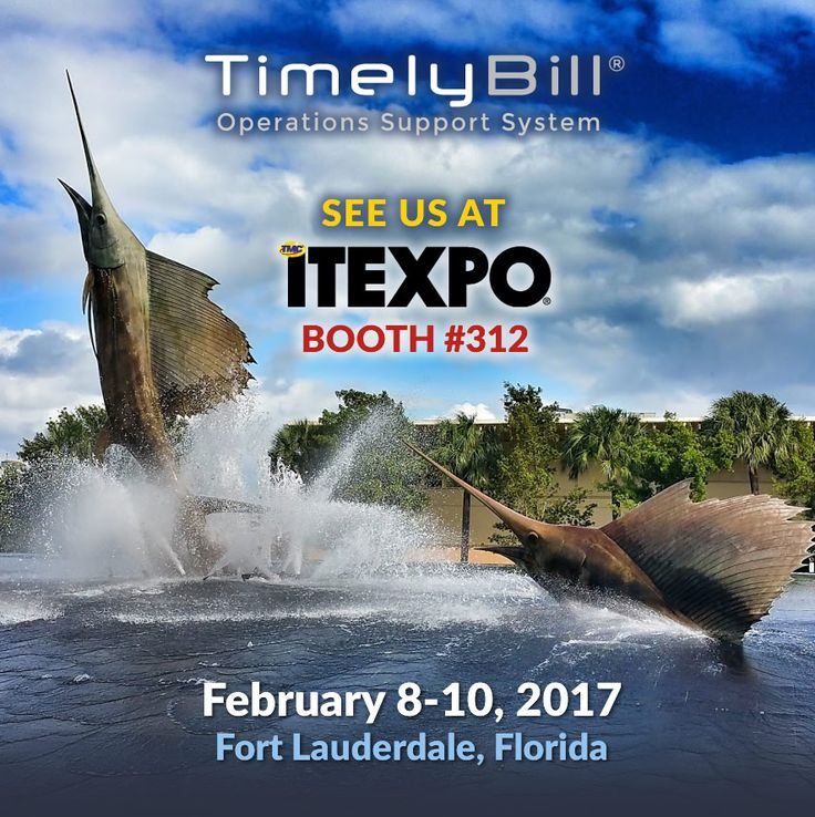 We'll be exhibiting at ITEXPO, February 8-10 in Fort Lauderdale, Florida. Stop by our booth to learn more about how TimelyBill is revolutionizing telecom billing.