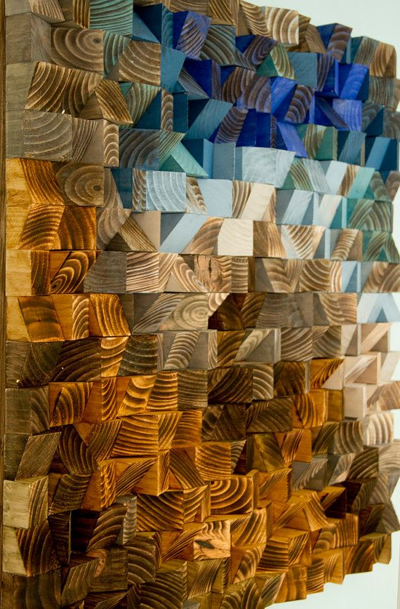 Wood Wall Art from reclaimed wood, 3D triangles, hand painted, woodburned, cut, dyed and sanded. Each piece is painted in unique acrylic or wood