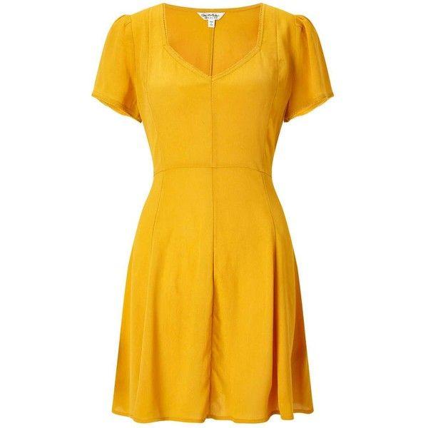Miss Selfridge Ochre Skater Tea Dress ($49) ❤ liked on Polyvore featuring dresses, ochre, miss selfridge, yellow skater dress, tea dresses, rayon dress and tea party dresses