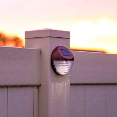 Brown Solar Fence Lights Set Of 4 Solar Fence Lights Backyard Fences Fence Lighting