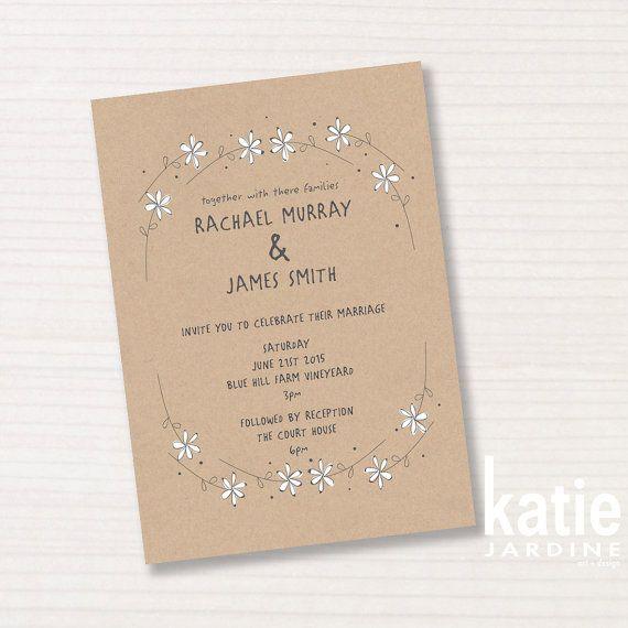 wedding invitation -  brownpaper - daisychain - printable invitation - 5x7 - countrystyle - daisy illustration on Etsy, $20.00 AUD