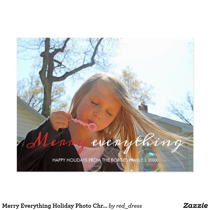"""Merry Everything Holiday Photo Christmas Red White Postcard merry everything, holiday photo template, modern/simple/minimalist/contemporary christmas design, red and white text design, handwritten/calligraphy like typeface overlay, two toned text, one photo/image/picture template, family name white text template, christmas colors.    Merry Everything Christmas photo cards featuring the words """"merry everything"""", in red / white calligraphy like typeface overlay"""