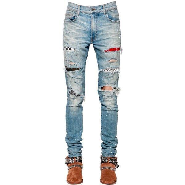 Amiri Men 15cm Patch Painted Cotton Denim Jeans ($1,755) ❤ liked on Polyvore featuring men's fashion, men's clothing, men's jeans, classic indigo, mens skinny fit jeans, mens torn jeans, mens distressed jeans, mens tapered jeans and mens destroyed jeans