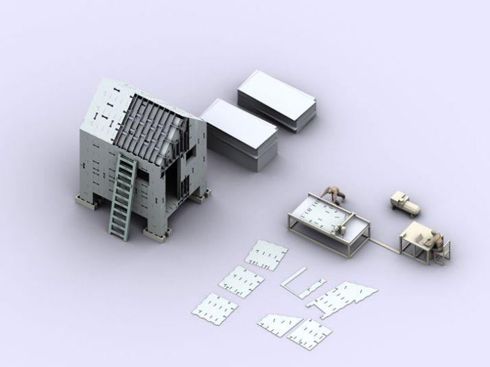 House for New Orleans, designed as a prototype in 2006-present.  Lawrence Sass and MIT.  Computer diagram of building system.  © 2008 Lawrence Sass.