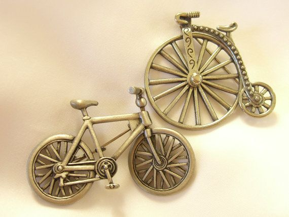 JJ Bicycle Brooches Lot of 2 Vintage Cycling Jewelry Pins by BuyVintageJewelry, $20.00