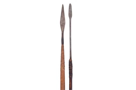 "South African Spear, Possibly Zulu, leaf-shaped head 9.5"" with central ridge, on its wooden shaft"