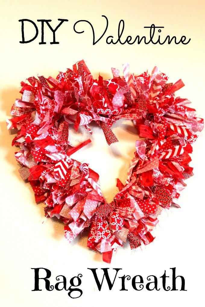 DIY Valentine Rag Wreath from Olives n Okra