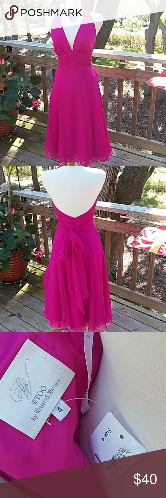 "NWT WTOO halter chiffon dress Gorgeous knee lenght chiffon dress in fyshia.  Deep v neck with attached sash that ties in the back, boning on the sides, back zipper, covered buttons at neckline.  NWT.  Full  skirt that has two layers of chiffon over two layers of lining. LENGTH IS 36"" armpit to hemline Wtoo Dresses"