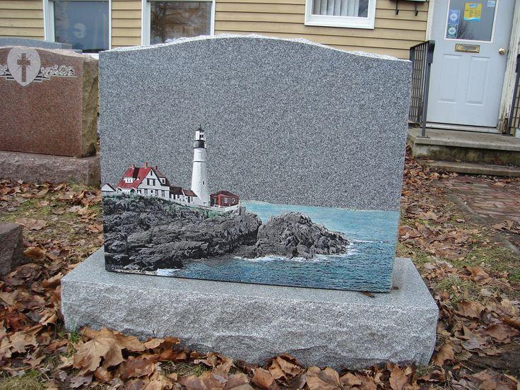 lighthouse headstones for graves   31 Glass Art on Gray - Portland Headlight- colored glass art ...