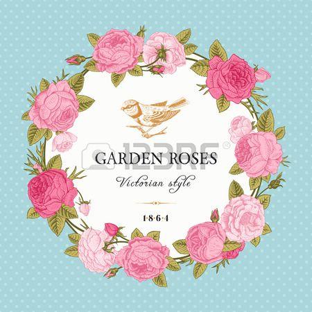 Carta vettoriale vintage con una corona di rose rosa da giardino su sfondo menta polka dot. Stile vittoriano. photo
