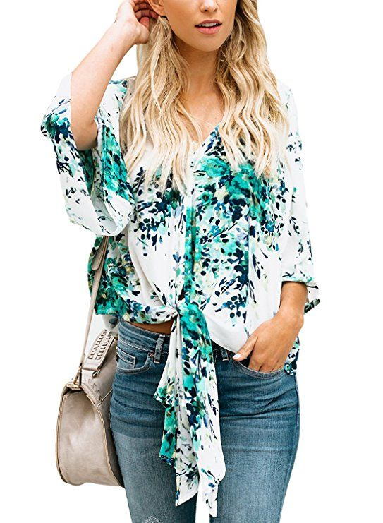 da7628bf47a Dokotoo Womens 2018 Ladies Summer Casual Short Sleeve V Neck Flower Floral  Print Flare Tops Chiffon Blouses T Shirts Under 10 20 X-Large