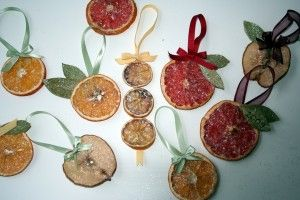 "DRIED FRUIT ORNAMENTS: Cut fruit into 1/4"" slices.Arrange your slices onto a food dehydrator to dry. (You can also put them on a baking sheet in your oven on the lowest temperature setting until completely dried. This will also make your house smell lovely!)"