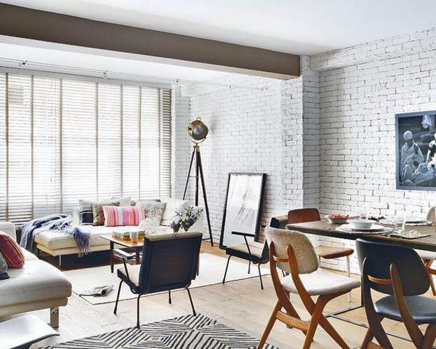 Interesting White Brick Wall Living Room Photos