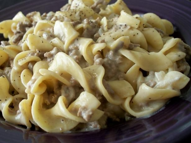 Ground Beef Stroganoff (Like Hamburger Helper) from Food.com:   Really yummy recipe.  My own creation based on lots of other stroganoff recipes out there.  Makes great left-overs :)