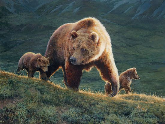 Bonnie Marris - Her Power and Her Glory - grizzly bear and cubs painting