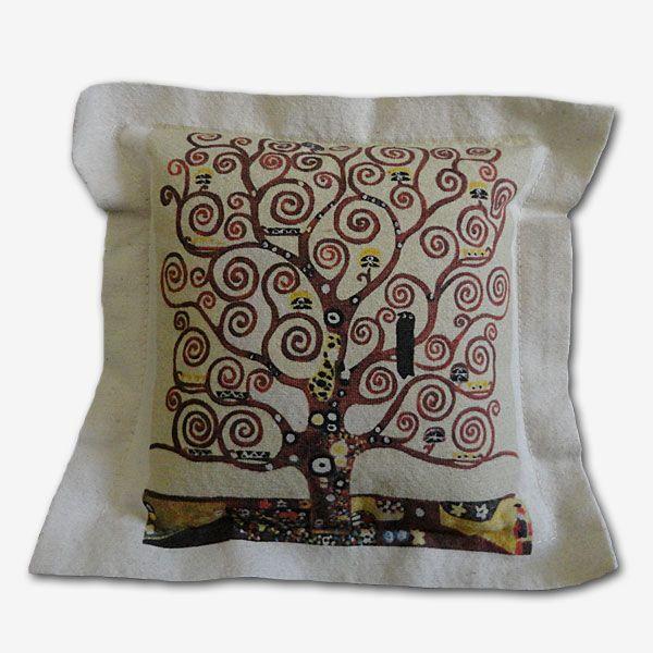 Funda cojín tela 100 % algodón, estampado digital.  Diseño Árbol de la Vida,pintor Gustave Klimt