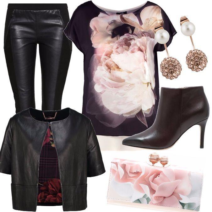 Per+questo+outfit+ho+scelto+la+maglia+con+stampa+floreale,+leggings+in+pelle+modello+slim+fit+e+giubbino+in+pelle+a+mezza+manica.+Tronchetto+con+tacco+alto+e+mini+bag.