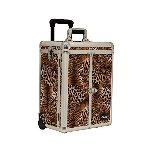 SUNRISE Professional Makeup Case on Wheels E6305 Aluminum French Doors 4 Small Drawers Adjustable Dividers Top Compartment Locking with Mirror Brown Leopard >>> Want additional info? Click on the image. (This is an affiliate link)