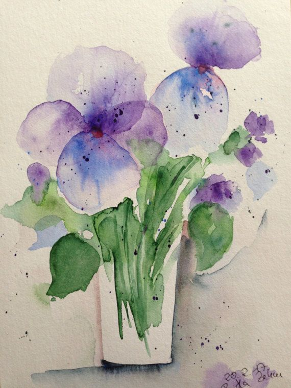 Aquarell Blumen  Veilchen   von GallerieSilberschatz auf Etsy